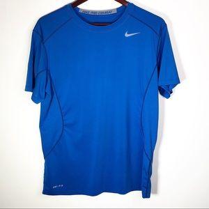 Nike Pro Combat Dri Fit Blue Short Sleeve Large